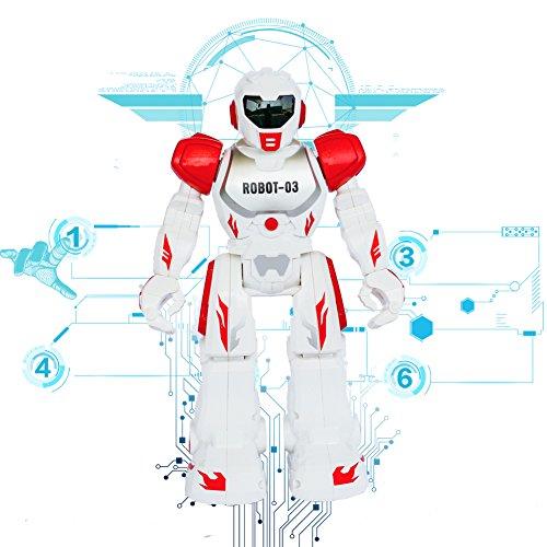 Ferngesteuerte RC Roboter Spielzeug Think Wing Interactive Lustige Maschine mit LED Augen, Sprechen, Singen, Tanzen, Laufen, Rutschen, Ein guter Anfänger Programmierbare Roboter für kleine Kinder (Rot)