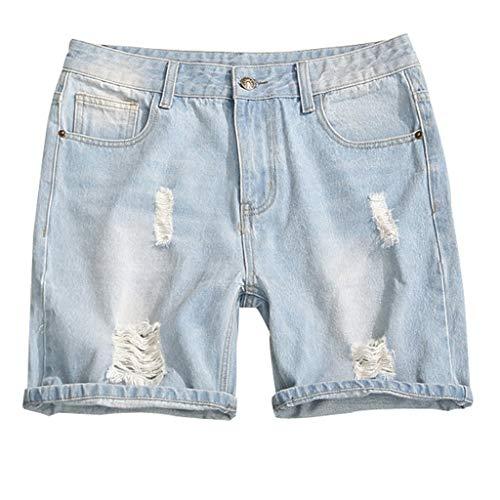 Herren Destroyed Jeans Shorts Kurze Denim lässige Bermuda-Shorts Slim Fit Capri Basic Regular Fit Chino Cargo Hawaii Strand Sweatshort Sportshorts (L, Blau) -