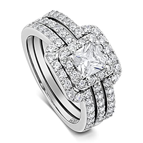 Princess Cut Center Stone CZ Sterling Silver Triple Band Engagement Ring & Wedding Band - 7
