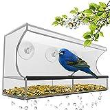 HHORD Mangiatoia Per Uccelli Con Grande Finestra In Cristallo Acrilico Trasparente Con 3 Potenti Ventose