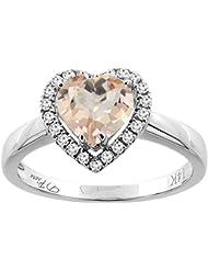 Revoni 14ct oro colgantes de corazón Natural del anillo Halo diamantes 7 x 7 mm