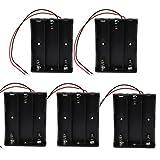 KEESIN 3.7V 18650 Batteriehalter Gehäuse Kunststoff Akku Aufbewahrungsbox mit Wire Leads und Befestigung Kabelbinder (3 Solts × 5 Stück)