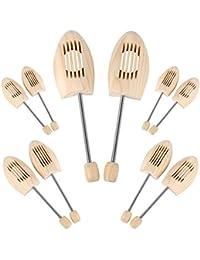 HOMFA 5 Paar Schuhspanner mit Spiralfeder aus Kieferholz Schuhdehner Schuhweiter für Damen und Herren (41, 42, 43, 44 EU) (41/42 EU)
