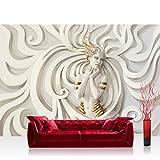 Vlies Fototapete 350x245 cm PREMIUM PLUS Wand Foto Tapete Wand Bild Vliestapete - A PERFECT WOMAN - Frau Erotik Gold elegant 3D Wand - no. 045