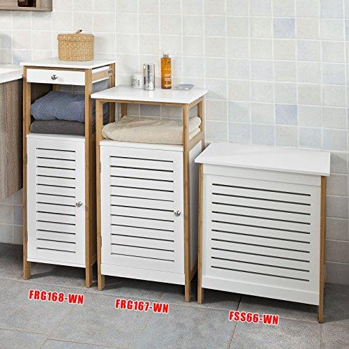 SoBuy® Wäschetruhe,Wäschekorb,Wäschebox,Wäschesammler Wäschetonne, mit Deckel, Weiß+Natur, FSS66-WN -