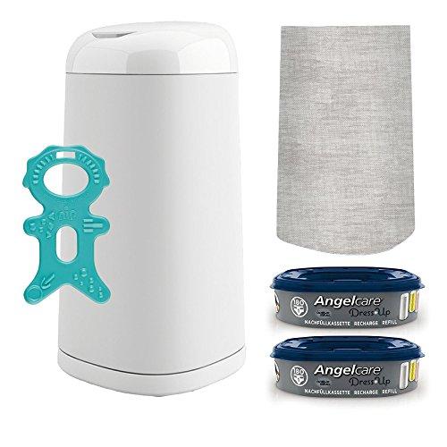 Angelcare® Dress-Up Starter-Set: Windeleimer + 2 Nachfüllkassette + Dress-Up Bezug Melange Grey