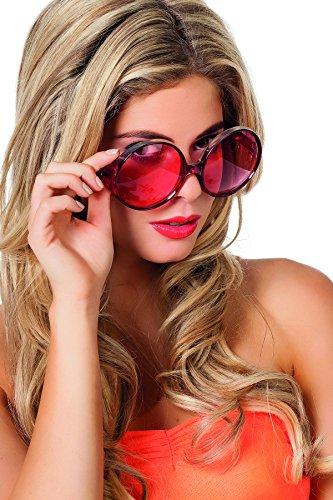 Jannes 20006 Hippie-Brille Große Runde Gläser Disco-Brille Rot