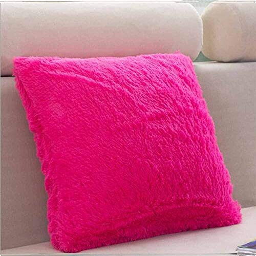 MEHOUSE Taies d'oreiller Canapé Peluche Couleur Unie Coussin Oreiller Oreiller Artificielle Peluche CâLin Housse de Coussin Throw Pillow Case Cushion Cover 45 * 45 CM (45 * 45CM, RR)
