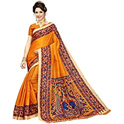 Indian Beauty Cotton Saree with Blouse Piece (IB-1111_Yellow_Free)