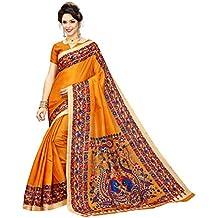 Indian Beauty Women's Kalamkari Khadi Silk Saree With Blouse