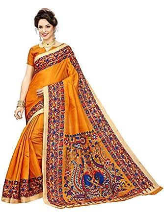 Indian Beauty Khadi Silk Saree with Blouse Piece (IB-1111_Yellow_Free)