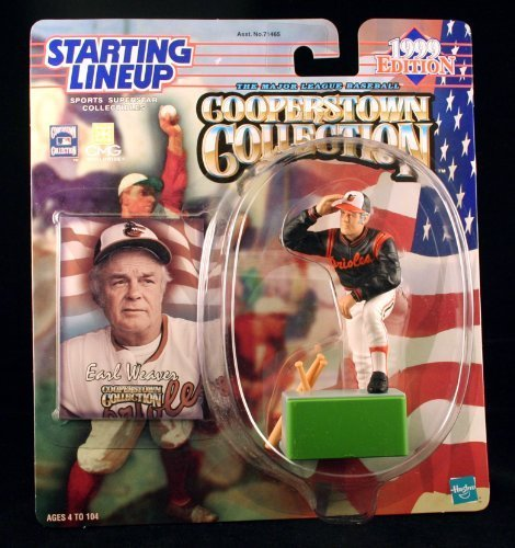 EARL WEAVER / BALTIMORE ORIOLES 1999 MLB Cooperstown Collection Starting Lineup Action Figure & Exclusive Trading Card by Starting Line Up Orioles Cooperstown Collection