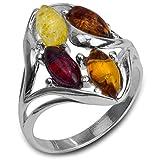 Mehrfarbiger Bernstein Sterling Silber Ring Größe 57 (18.1)