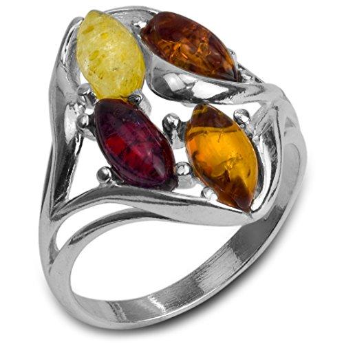 Mehrfarbiger Bernstein Sterling Silber Ring Größe 57 (18.1) -