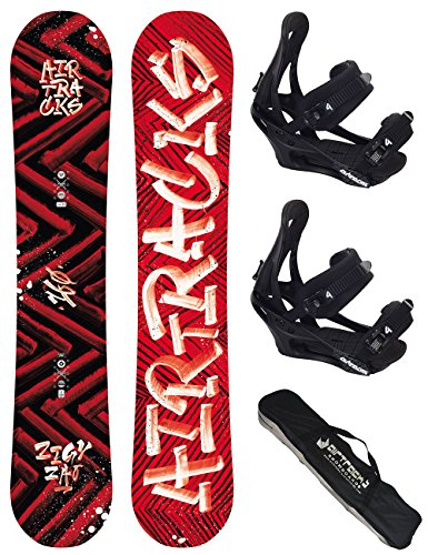 AIRTRACKS SNOWBOARD SET / HIT AND RUN SNOWBOARD WIDE ROCKER + BINDUNG SAVAGE + SB BAG / 150 153 155 158 161 / cm