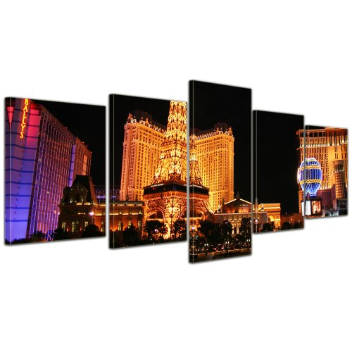 Wandbild - Abend in Las Vegas - Bild auf Leinwand - 200x80 cm 5 teilig - Leinwandbilder - Bilder als Leinwanddruck - Städte & Kulturen - Amerika - USA -
