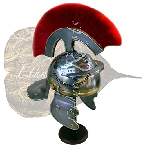 Roman Centurion Helm (rot Plume) Reenactment/Larp/Rollenspiel oder Mottoparties + Gratis Helm Ständer (Centurion Helm Roman)