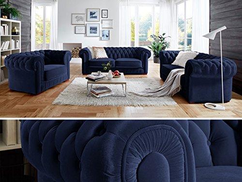Chesterfield Sofag-Garnitur 3-2-1 Samtstoff Knopfheftung Modern Designer Couch (Dunkelblau)