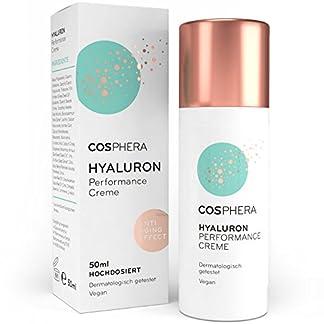 Crema de ácido hialurónico Performance de Cosphera, 50ml, crema de día y de noche vegana de uso prolongado para cara, cuello, escote, ojos,antiarrugas, tratamiento hidratante, para mujeres y hombres