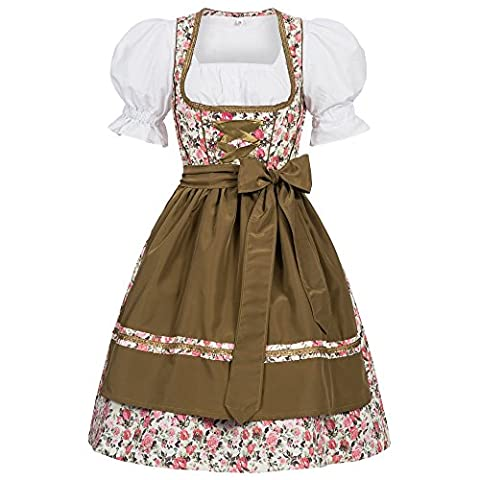 3 piece Josie flower print traditional dirndl set: dress, blouse and apron for Oktoberfest, carnivals or theme parties Size