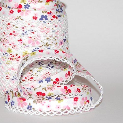 Rosa, Rot & blau Blumen mit weißer Spitze Rand Doppelt Gefaltete Schrägband 12mm (Meterware) und auf A Bertie 's Bows Ribbon Karte -