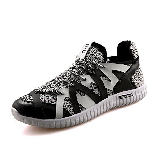 Sport chaussures mode homme casual chaussures un respirant tissé mouche Black