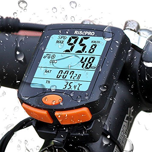 Fahrradcomputer, RISEPRO Fahrradcomputer kabellos 4 Line LCD-Hintergrundbeleuchtung Display für Tracking mit Geschwindigkeit und Strecke, Wasserdicht Fahrrad Computer YT-813