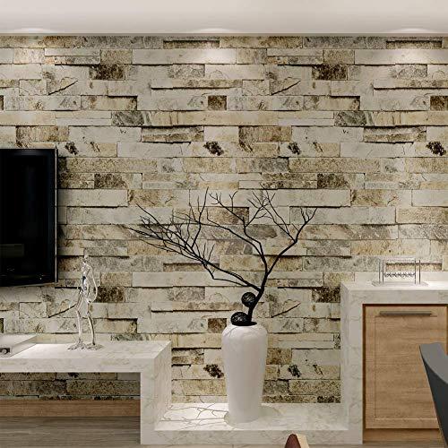 HANMERO Murales de pared papel pintado imitación ladrillo piedras papel de pared dormitorios/salón/hotel/fondo de TV/color color beige, crema blanco y gris,0.53M*10M