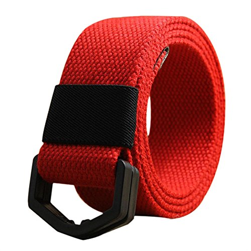 Leisial Canvas Casual Plastic Belt D Type Tactical Belts Police Automatic Double Buckle Air Sport for Unisex
