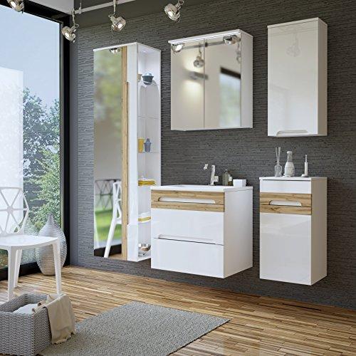 Galaxy Badmöbel-Set/Badmöbelanlage/Komplettbad 6-teilig in Weiß Hochglanz/Blenden Holzdekor, Waschtisch 60 cm, LED-Beleuchtung