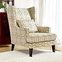 كرسي أجنحة كلاسيكي من آني [بيج] من القماش طويل لغرفة المعيشة مع وسادة للكلى | كراسي لهجة