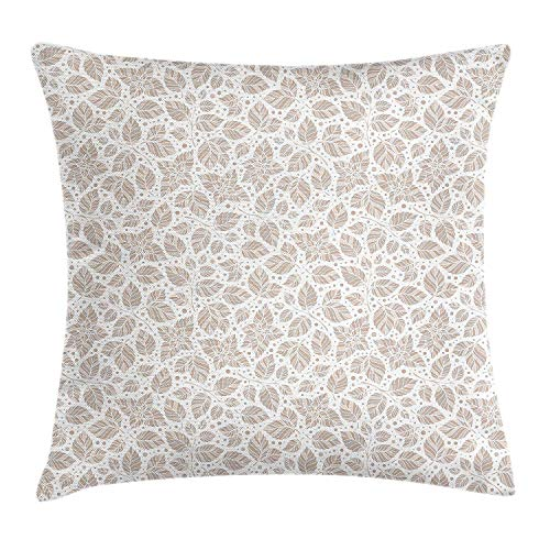 RAINNY Ivory and Grey Throw Pillow Cushion Cover, Mint Leaf Pattern Peppermint Plant Abstract Nature Inspired Pastel, Decorative Square Accent Pillow Case, 18 X 18 inches, Beige Grey White (Peppermint Chocolate White)