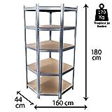 Grafner® 5 - Ebenen Eck-Schwerlastregal Werkstattregal | 875kg | 1,80m Regal Lagerregal Kellerregal Eck Regal eckig