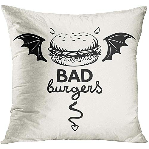 wenyige8216 Black Sketch Graphic of Evil Hamburger with Bat Wings Devil Horns and Tail and Lettering in on White Bad Line Decorative Pillowcases Throw Cushion Covers for Sofa and Couch 45 x 45 cm (Devil Tail Black)