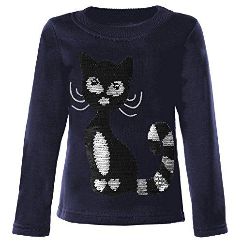 BEZLIT Mädchen Kinder Pullover Pulli Wende Pailletten Sweatshirt 21547, Farbe:Blau, Größe:134