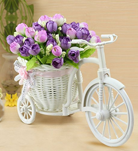 Sky Trends Flower Cycle red white flower Plastic Basket Cycle with Artificial...