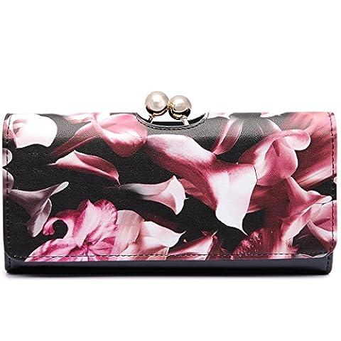 Miss Lulu Women Faux Patent Leather Flower Ball Clasp Purse Wallet Long Purse Bag(1684 Flower
