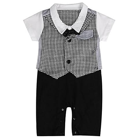 Baby Strampler Smoking für Jungen | Anzug mit Fliege | Größe 70 - 80 - 90 - 100 | Süßes Geschenk für Eltern mit Babies (80, gentleman schwarz-weiß)