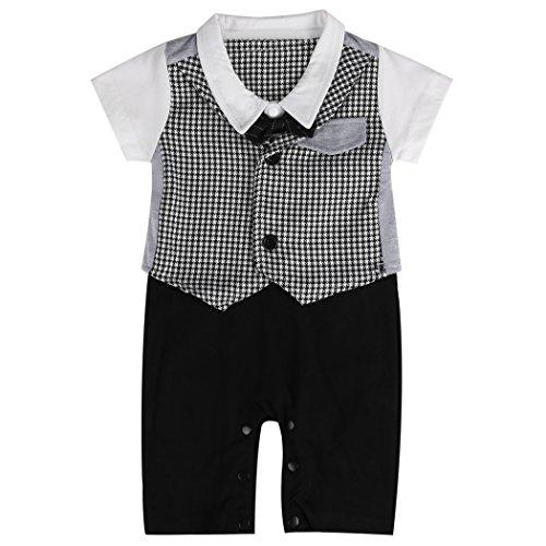 Für Polen Jungen Kostüm - Lexikind Baby Strampler Smoking für Jungen - Anzug mit Fliege (80, Gentleman schwarz-weiß)