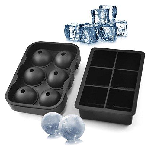 hoship Silikon Ice Cube und Ball Combo (Set von 2), Sphere Ice Ball Maker mit Deckel &, quadratisch, groß, Formen, wiederverwendbar und BPA-frei Mini-eis Ball Mold