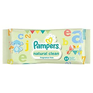 Pampers Natural Clean Baby Wipes - Pack of 12 (768 Wipes)
