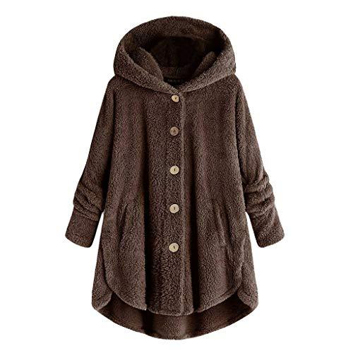 TOPKEAL Damen Herbst Winter Mantel Jacke Langarm Einfarbig Tops Pulli Frauen Warm Plüsch Kapuzenpullover Hoodie Pullover Outwear Mit Tasche (Kaffee, L)