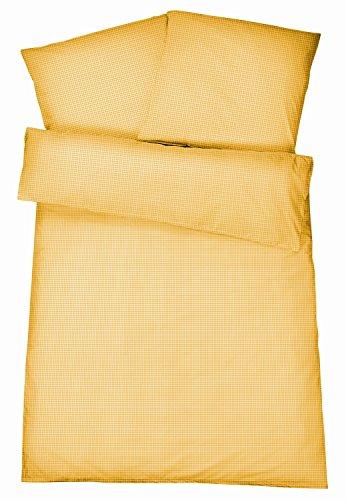 Carpe Sonno Bügelfreie Seersucker Bettwäsche 135 x 200 cm - Leichte Karierte Baumwoll Bettbezüge für den Sommer - Moderne karo Bettwaren-Garnitur - Gelb