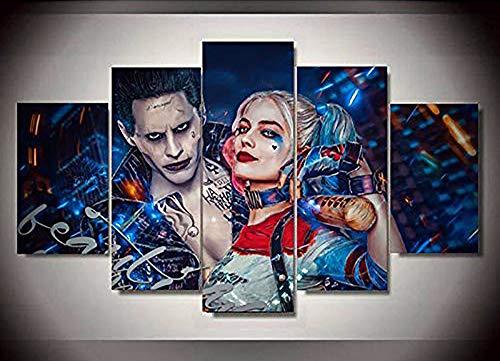 alerei Selbstmordkommando-Joker mit Harley Quinn Drucke auf Leinwand Giclee Artwork Für Zuhause Modern Dekoration,B,30×40×2+30×60×2+30×80×1 ()