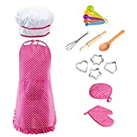 Woot Direct Chef Set for Kids, 16Pcs Kitchen Toy Children Cooking Set for Boys Girls Toddler Role Play Set With Apron Chef Hat (Pink)