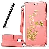 Slynmax Motorola Moto G5S Plus Phone Flip Case, Moto G5S Plus Cover Leather, [Floral Series] Wallet Flip Case Cover Butterfly + 1 * Stylus Pen