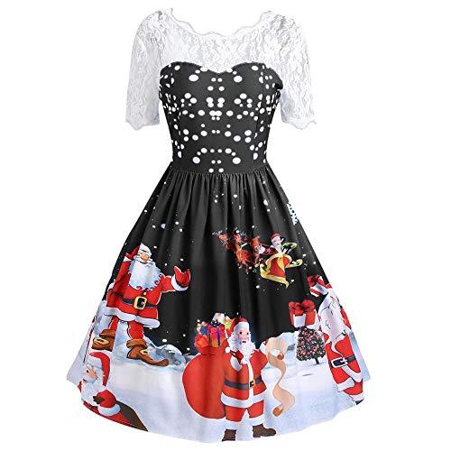 SamMoSon Kleider Damen Weihnachten Karneval Kostüm Festlich Partykleid Cocktailkleid Abendkleid Spitzenkleid 50er Vintage Retro Rockabilly Swing Kleid Hepburn Stil Dress