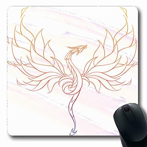 Luancrop Mousepads Indischer Aquarell-Asp kopierter Fliegender Drache auf Leben-abstraktem Basilisk-Tier-Buch-keltischem Farbton-rutschfestem Spiel-Mausunterlage-Gummi-länglicher Passepartout -