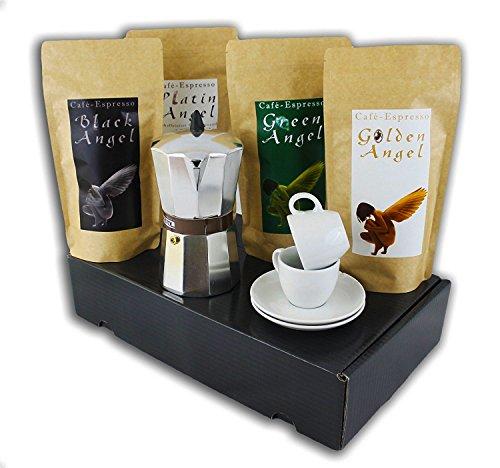 Espresso Geschenk Set 4 x Angels Kaffee mit Espressokocher, Espressotassen, Geschenkbox