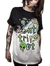 Ocean Plus Unisex Camiseta Alien 3D Estampado Pintada Loose Fit Insano Wild Cuello Redondo tee Locura